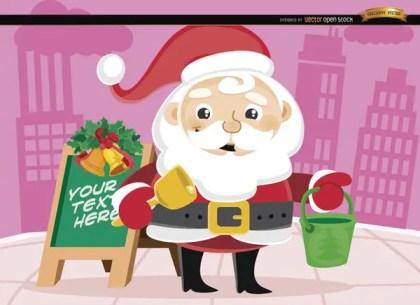 Santa Claus Christmas Bucket In Street Free Vector