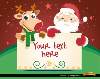 Santa Reindeer Christmas Card Message Free Vector