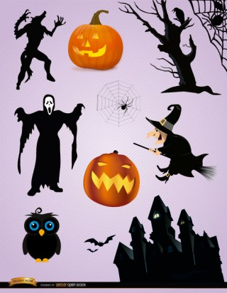 Scary Halloween Elements Free Vector