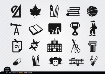 School Elements Icons Set Free Vector
