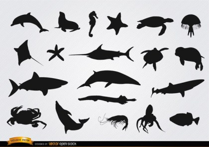 Sea Animals Silhouettes Set Free Vector