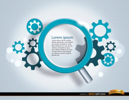 Search Magnifying Glass Gears Background Free Vector