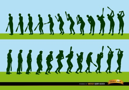 Sequence Of Baseball Player Batting Silhouettes Free Vector