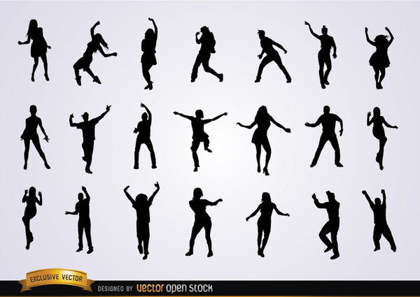 Set Of Dancing Silhouettes Free Vector