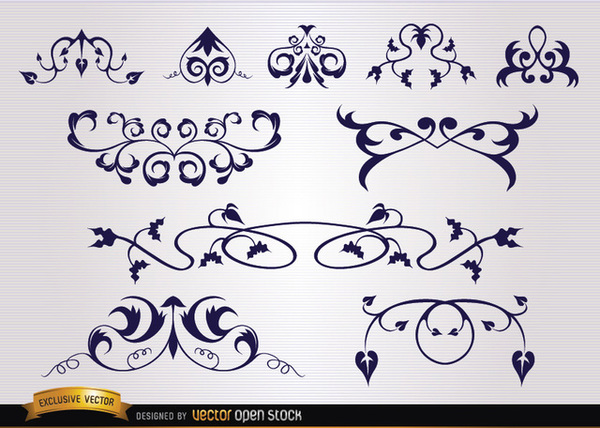 Several Leaves Floral and Swirl Ornaments Free Vector