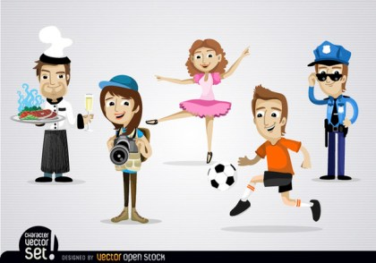 Several Professional Characters Free Vector