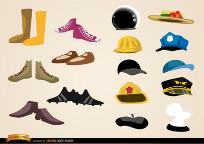Shoes and Hats Collections Free Vector