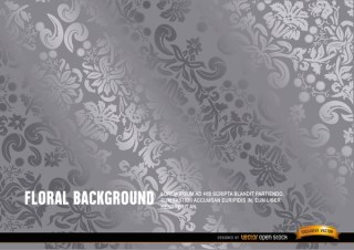 Silver Floral Background Free Vector