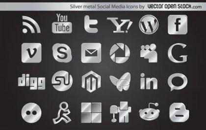 Silver Metal Social Media Icons Free Vector