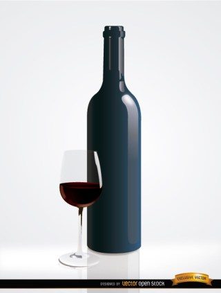 Simple Red Wine Bottle and Glass Free Vector