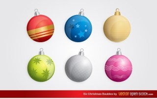Six Christmas Baubles Free Vector