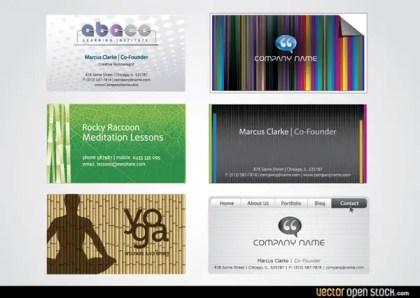 Six Modern Business Card Templates Free Vector