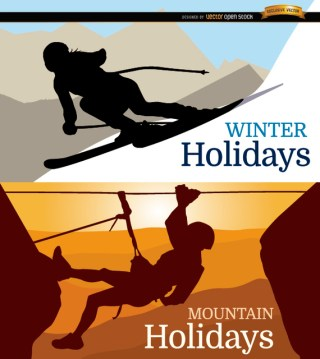 Ski and Mountain Holidays Background Free Vector