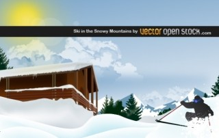 Ski In The Snowy Mountain Free Vector