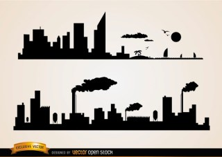 Skyline Cities Beach and Industries Free Vector