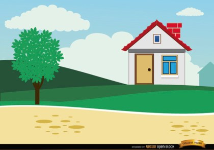 Small Country Cartoon House Background Free Vector