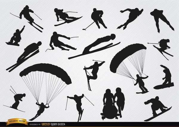 Snow Sports Silhouettes Set Free Vector