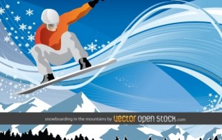 Snowboarding In The Mountains Free Vector