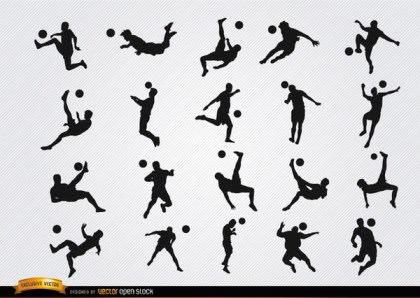 Soccer Players Hitting Ball Jumping Silhouettes Free Vector