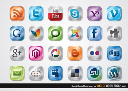 Social Media Metal Icons Free Vector