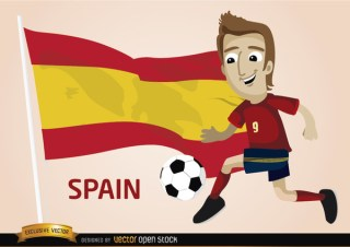 Spain Football Player with Flag Free Vector