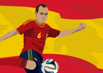 Spain Player Andres Iniesta with Flag Free Vector