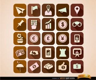 Squared Business Icons Set Free Vector