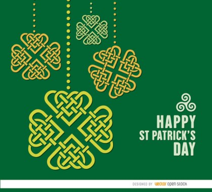St. Patricks Celtic Shamrocks Hearts Background Free Vector