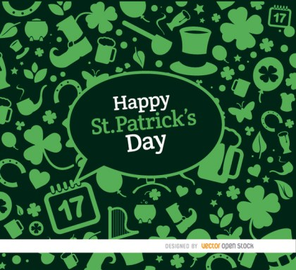 St. Patricks Elements Green Background Free Vector