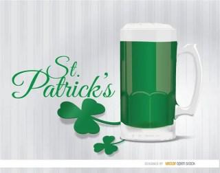 St. Patricks Green Beer Shamrock Background Free Vector