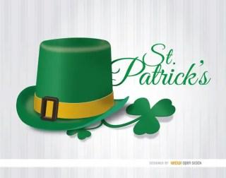 St. Patricks Hat Shamrock Wallpaper Free Vector