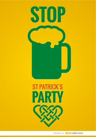 St. Patricks Party Beer Poster Free Vector