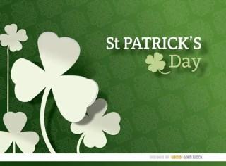 St. Patricks Shamrock Pattern Background Free Vector