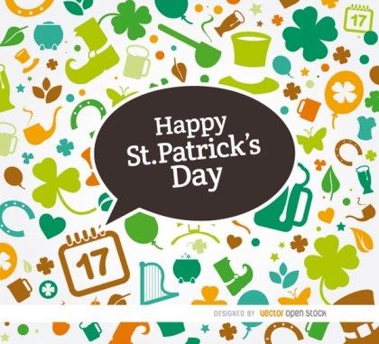 St. Patricks Symbols Colorful Background Free Vector