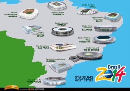 Stadiums Hosts Cities Brazil 2014 Map Free Vector