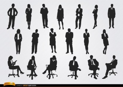 Standing Sitting Executive Men Women Free Vector