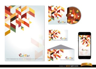 Stationery Colorful Polygonal Design Free Vector