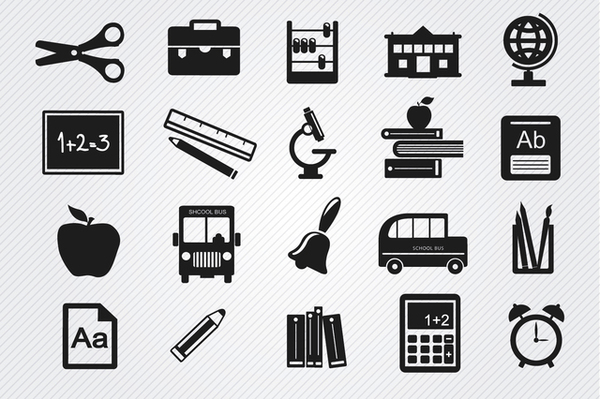 Study Objects Icons Set Free Vector