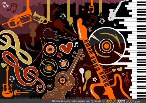 Stylish Musical Instruments and Symbols Free Vector