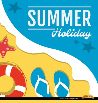 Summer Holidays Beach Background Free Vector