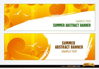 Summer Sky Swirls Headers Free Vector