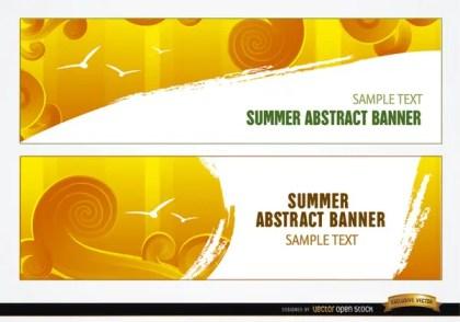 Summer Sky Swirls Headers Free Vector