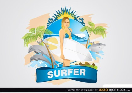 Surfer Girl Wallpaper Free Vector