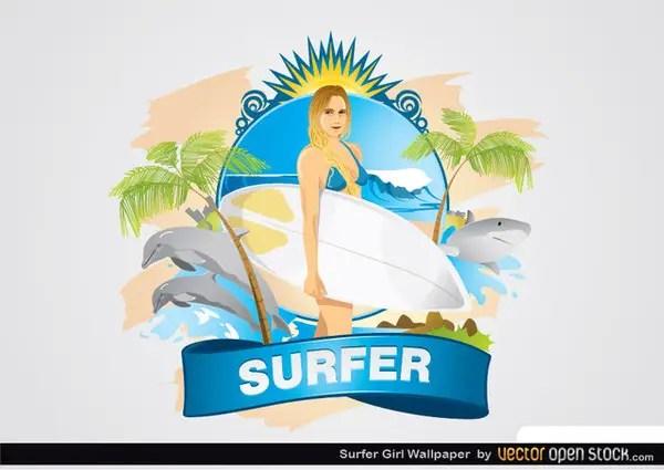 Surfer Girl Wallpaper Free Vector