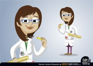 Teacher Cartoon Character Free Vector