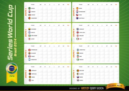 Team Groups Board Brazil 2014 Worldcup Free Vector