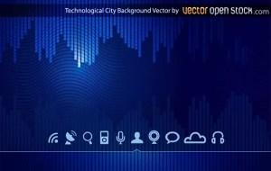 Technologic Skyline City Background Free Vector