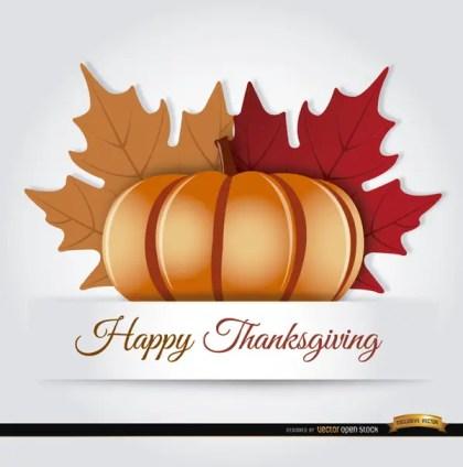 Thanksgiving Pumpkin Autumn Leaves Background Free Vector