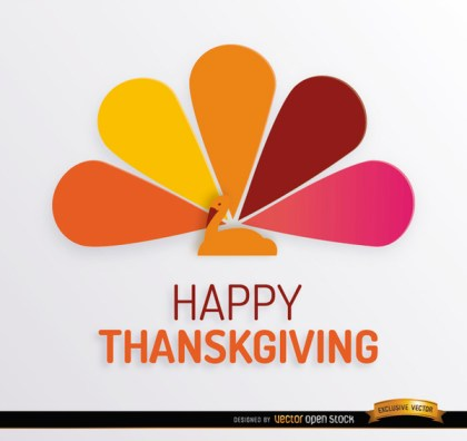 Thanksgiving Turkey Colorful Tail Background Free Vector