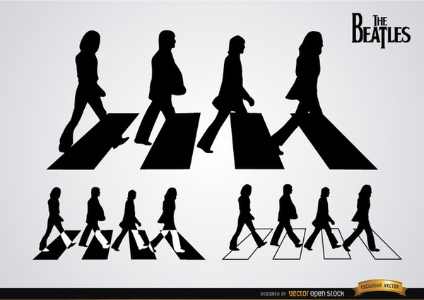 The Beatles Abbey Road Silhouettes Free Vector